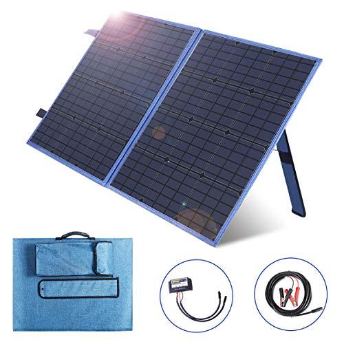 SARONIC Panel Solar Plegable portátil de 100W 12V con un Controlador de Carga Solar de 10A para Camper, Caravana, autocaravanas, Sistema de oficinas móviles de 12V
