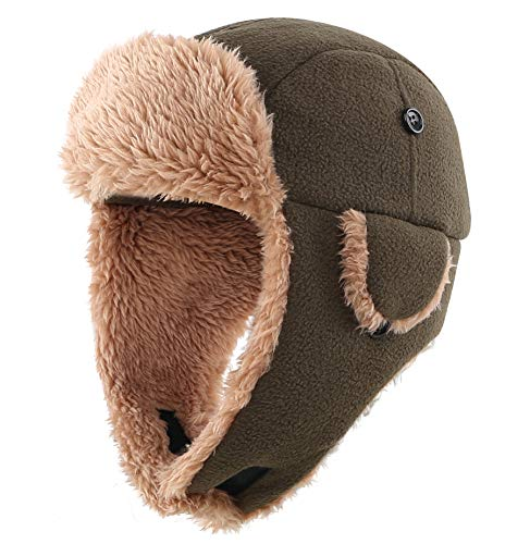 Connectyle Toddler Boys Kids Fleece Trapper Hat Ushanka Winter Hat with Ear Flaps Outdoor Ski Cap Army Green