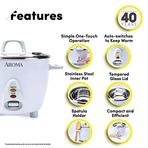 Aroma Housewares Select Stainless Rice Cooker & Warmer with Uncoated Inner Pot, 6-Cup(cooked) / 1.2Qt, ARC-753SG