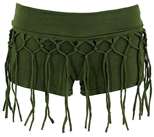 Guru-Shop Goa Pantys, Psytrance Hotpants, Shorts, Damen, Olive, Baumwolle, Size:36, Shorts, 3/4 Hosen, Leggings Alternative Bekleidung