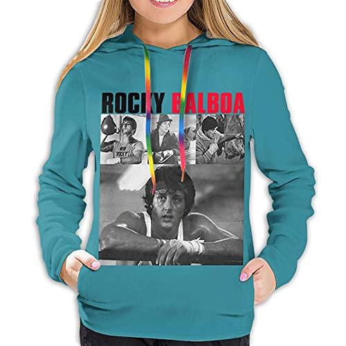Rocky Balboa Sudaderas con Capucha de Bolsillo con cordón para Mujer Sudadera con Capucha para niñas Adolescentes