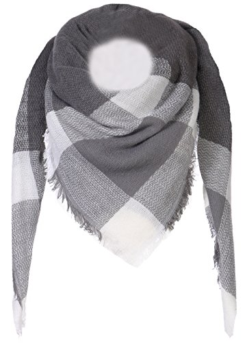 Fashion YOU WANT Damen XXL Schal kariert Karo Muter Quatro Deckenschal Scarf Bolero Tuch Poncho (dunkelgrau/grau/weiß)