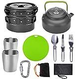 Utensilios de cocina de camping al aire libre Pot Set 2-3 personas acampando tetera El Crisol con la taza del agua de la tabla de cortar Utensilios de cocina y Cubiertos Plegables ( Color : Black )