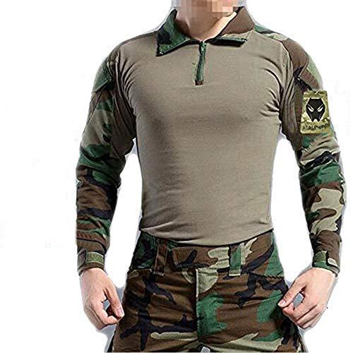 WorldShopping4U Hommes BDU Tournage Combat Manche Longue Camo Chemise avec Coude Coussinet Woodland Camo pour Militaire Armée Airsoft XL