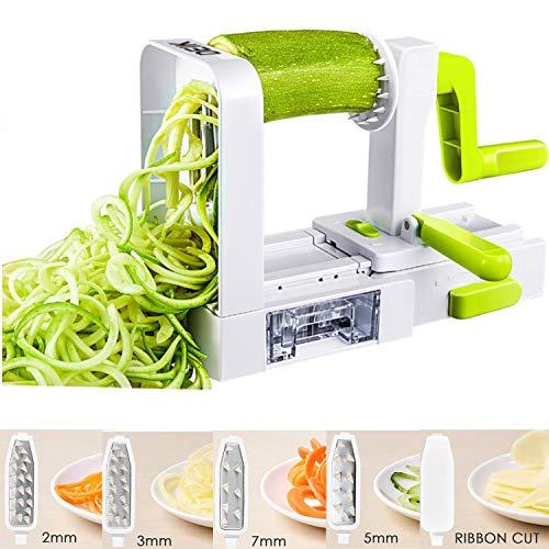 Deik Espiralizador de Vegetales, Cortador de Verduras , Pasta Vegetal Maker y Mandoline Slicer para Low Carb / Paleo / Gluten, Comidas Gratis