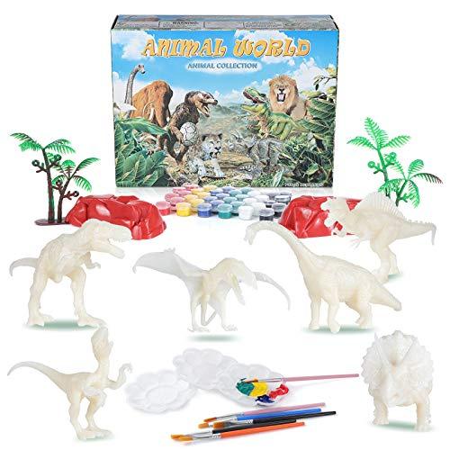 Diealles Shine Pintar Dinosaurios, 55PCS Pintar Dinosaurios Juguetes para Niños, 3D Figuras de Dinosaurio para Pintar