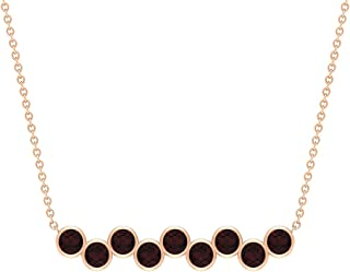 1.25 CT Bar Necklaces for Women with Garnet, Bezel Set Pendant (3 MM Round Cut Garnet)