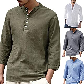 RANRANJJ Mens Chinese Style T-shirt Traditional Kung Fu Hanfu Solid Long Sleeve Wu Tang Suit Cheongsam Tops Men Clothing ...