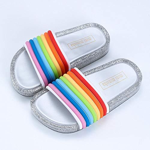 zapatillas de estar por casa mujer invierno,Zapatillas de jalea luminosa, zapatillas de verano para niños, zapatillas para niñas, pvc Sandalias de playa antideslizantes, plata de arco iris para niños