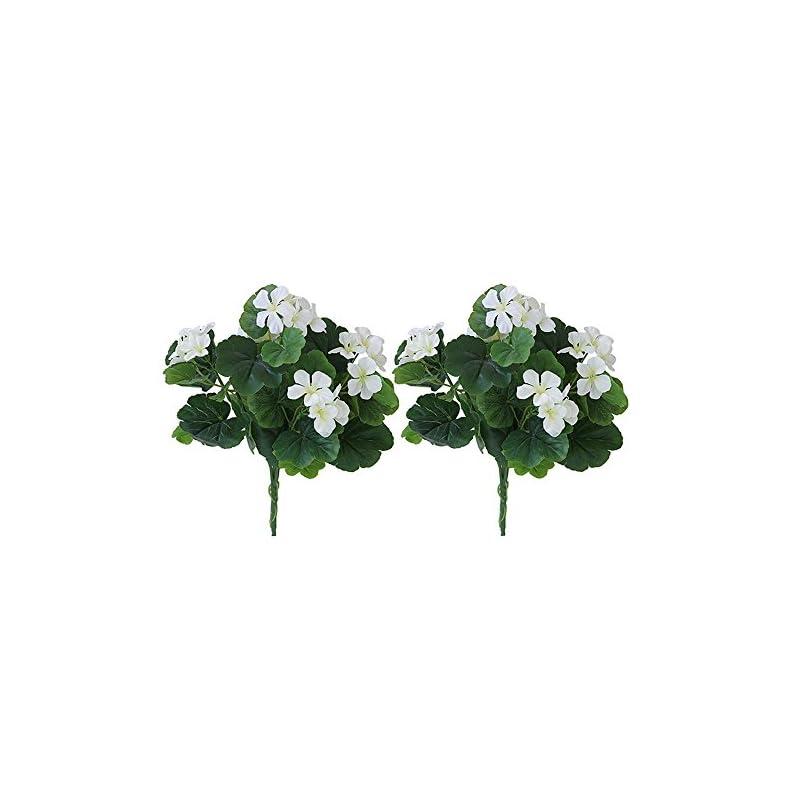 silk flower arrangements lopkey indoor artificial begonia bouquet flower patio lawn garden wedding photo decor (2pcs),white