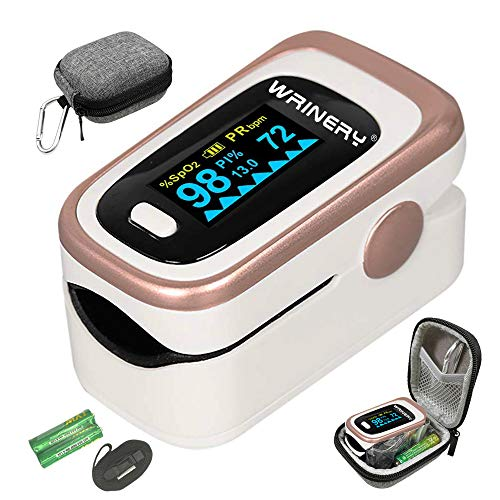 Oxygen Saturation Monitor, Pulse Oximeter Fingertip, Oxygen Monitor, O2 Saturation Monitor, OLED Portable Oximetry with Batteries, Lanyard (Rose gold-White)