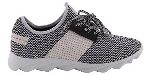 Tamboga Unisex Low Sneaker Textil Schuh Lewis Nr.1629, Farben:Schwarz-Weiß, Größe Schuhe:42