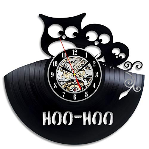 Wood Crafty Shop Owl Birds Hoo Hoo Design Vinyl Record Wall Clock Gift for Him and Her Unique Wall Decor The Best Gift Idea for Any Event Birthday Gift, Wedding Gift