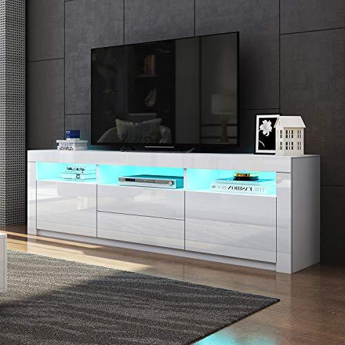 UNDRANDED Modern TV Lowboard mit 2 Türen 2 Schubladen Fernsehtisch Einheit 160cm Schrank Matt und Hochglanz KOSTENLOS 16 Farben RGB LED Streifen (Weiß)