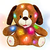 Hopearl Adorable LED Plush Puppy Light up Stuffed Animal Dog Floppy Pup Night Lights Glow in The Dark Birthday Gifts for Kids Toddler Girls, Brown, 11.5''