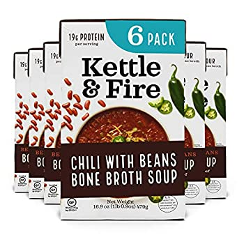 Chili with Beans and Grass Fed Beef and Bone Broth by Kettle and Fire Pack of 6 Gluten Free Collagen Soup on the Go Non GMO 18g of protein 16.9 fl oz