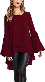 Style Dome Blusa Mujer Tops de Manga Larga Cuello Redondo con Volantess Camisa Suelta Túnica Jersey Vino Rojo S