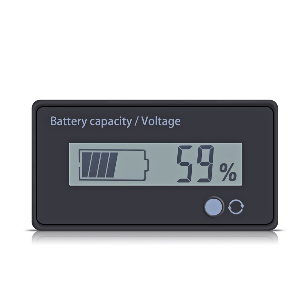 Battery Fuel Gauge, 12V Lead Acid Digital Battery Capacity Tester DC 6V to 63V Battery Level Checker White LCD Screen with Buckle