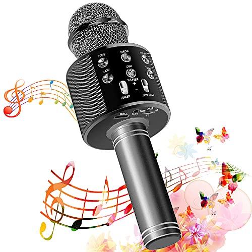 SunTop Microfono Karaoke Bluetooth, Bluetooth Altoparlante, Microfono Wireless, Bluetooth Karaoke Player, AUX wireless Karaoke per PC, laptop, iPhone, iPad, smartphone Android