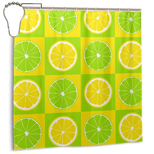 Throwpillow Figuras de limón y Lima en gráfico Inspirado en Arte Pop Cuadrados en Tonos Pastel, Verde Lima Amarillo, Cortina de Ducha para decoración del hogar 72inX72in