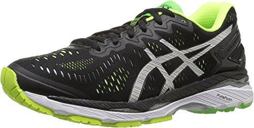 ASICS Men's Gel-Kayano 23 Running Shoe, Black/Silver/Safety Yellow, 6 M US