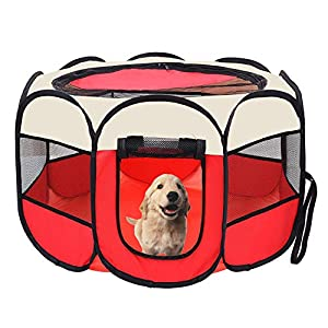 afuLaI 40″ Portable Foldable Pet Playpen Exercise Pen Kennel with Carrying Case for Dog Cat Rabbit Hamster Indoor/Outdoor Use, Red
