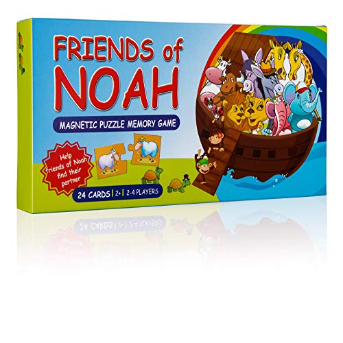 Friends of Noah Animal Puzzle - Noah's Ark Magnetic Memory Game for Kids Biblical Education. 28 Fun Tiles, Great for Playing On a Refrigerator. Original Family Activity for Ages 2 and Up.