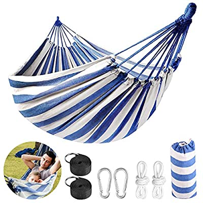 LadyRosian 2 Person Hammock with 550 lb Load Capacity - Brazilian Style Cotton Canvas Portable Hammock - Thickened Durable Hammock for Travel, Beach, Garden, Backyard, Hiking & Traveling (BlueWhite)