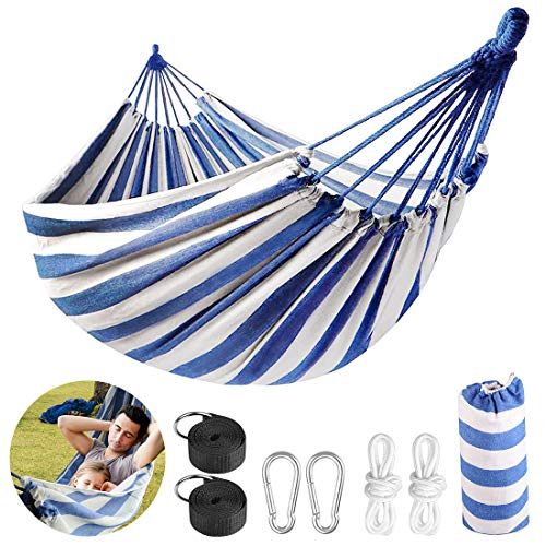 LadyRosian 2 Person Hammock with 550 lb Load Capacity  Brazilian Style Cotton Canvas Portable Hammock  Thickened Durable Hammock for Travel Beach Garden Backyard Hiking amp Traveling BlueWhite