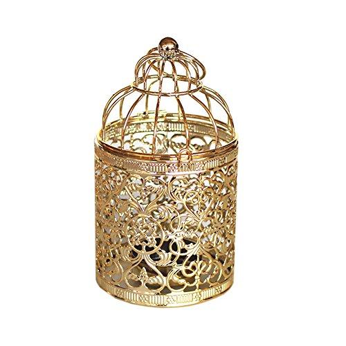 Outflower - Portavelas de estilo vintage, diseño de jaula de pájaros, Aleación, dorado, 8*8*14 cm