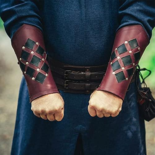 TMIL Gardes-Bras pour Le tir à l'arc, Bracelet en Cuir Assassin de samouraï médiéval, gardes de la Main Gothique rétro Steampunk pour des Performances de scène Cosplay Costume Props,Rouge
