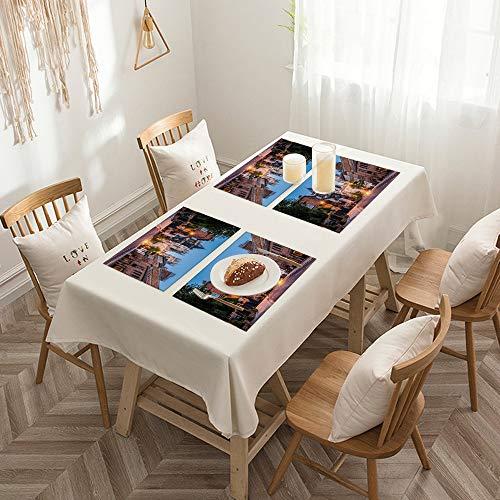 Sets de table de Rectangulaire lavables, durables, résistants à la chaleur et antidérapants,Décor gothique, vue de la cathédrale de York en soirée, paysag,Salle à Manger de Cuisine de Fête (Lot de 4)