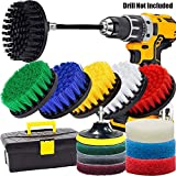 GOH DODD Drill Brush and Scrub Pads, 20 Pieces Power Scrubber Set Small Cleaning Brushes with Long Reach Attachment in Big Tool Box for Carpet, Tile, Shower Track, and Grout Lines