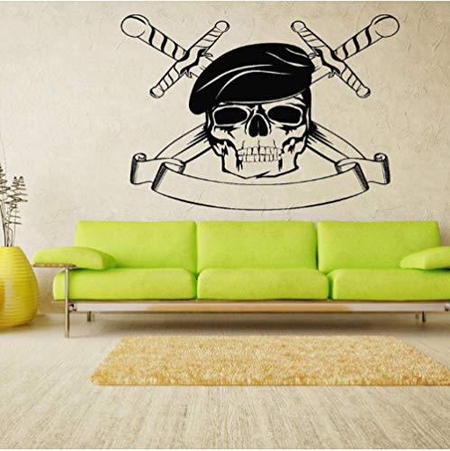 Messer Gekreuzte Schädel Grim Wandaufkleber Für Wohnzimmer Halloween Dekoration Vinyl Wandtattoos Schlafzimmer Kunst Poster 57X42 Cm