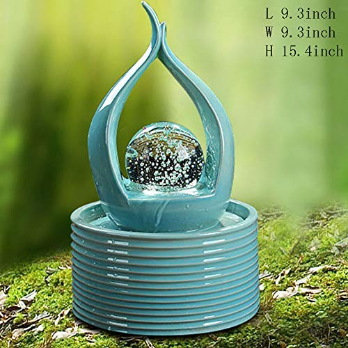 Statues Indoor Water Fountain,Ceramic Tabletop Fountain Living Room Fountain Desktop Zen Fountain Office Household Decorations Tabletop Decorative-Blue 15.4inch