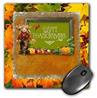 3dRose Mouse Pad Happy Thanksgiving, Scarecrow, Pumpkins, and Apples in Frame - 8 by 8-Inches (mp_304920_1) [並行輸入品]