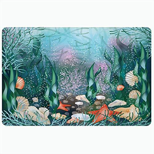 LIS HOME Indoor Bad Teppich für Badezimmer rutschfeste Matten Aquatic Starfish Seawater Aquarium Bubble Underwater Wave Cute World Hering Natur Design Saison Badedusche Fußmatte Gummimatte