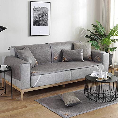 B/H Tejido Poliéster Poliéster Sofa Cubre,Funda de sofá Antideslizante, Funda de sofá de Color sólido-Gris_80 * 160cm,poliéster y Elastano Funda sofá
