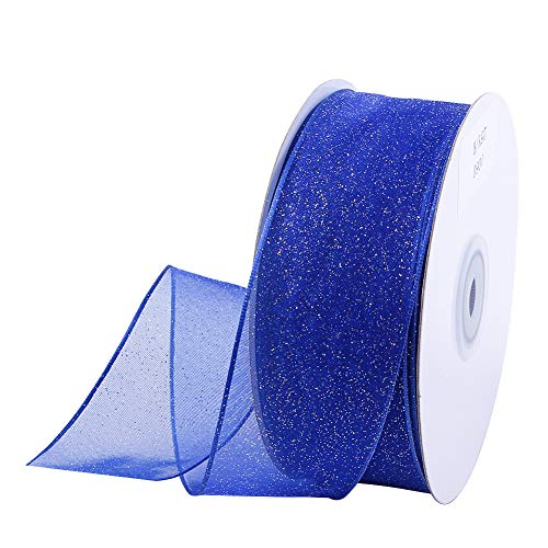 Wired Christmas Ribbon 25 Yards 1-1/2'' Sheer Organza Glitter Crafts Gift Wrapping Festive Ribbons Christmas Design Decorations (Glitter Blue)