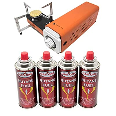 GasOne GS-8300 Spyder - Camp Stove Compact Butane Stove with 4 Butane Fuel with Carrying Case