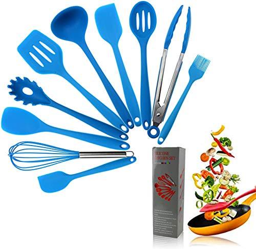 CRESTGOLF Juego de utensilios de cocina de silicona de 11 piezas para el hogar, antiadherente y resistente al calor, utensilios de cocina antiarañazos Kitchen Good Helper(blue)