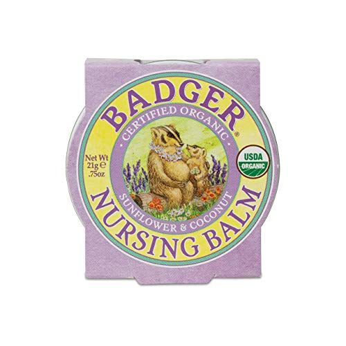 Badger - Nursing Balm, Sunflower & Coconut, Certified Organic Nipple Balm for Breastfeeding, Soothe & Protect, Nipple Butter, 0.75 oz