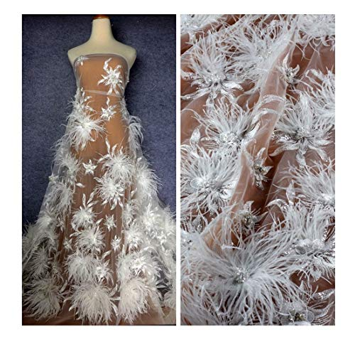 New Pink/Off White/Grey 3D Flowers Feather Beaded Pearls Rhinestones Crystal Wedding/Evening Dress lace Fabric by Yard (Off White)