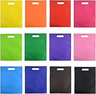 "60 Pcs Party Favor Gift Bags with Handles, Wobe 12 Colors 9.6 by 11.6"" Non-woven Poly Goodie Treat Bags Rainbow Colors Tot..."