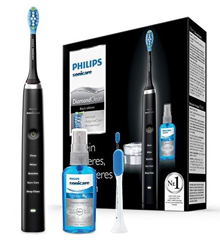 Philips Sonicare DiamondClean Neue Generation Elektrische Zahnbürste mit Schalltechnologie HX9355/86, 5 Putzprogramme, Zungenreiniger, schwarz