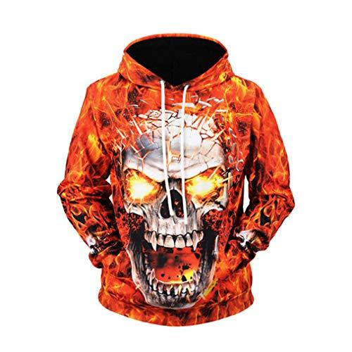 Sudadera con Capucha y Estampado de Calaveras de Fuego Sudadera Unisex Otoño Invierno Casual 3D Hip Hop Streetwear Pullover XL