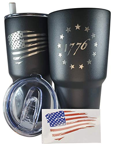 30oz Betsy Ross Flag Tumbler - American Flag Tumbler Travel Mug - Patriotic Coffee Travel Mug - Double Insulated - Engraved in the USA - with Silicone Straw and USA Sticker