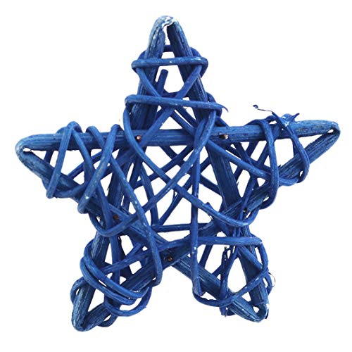 Kissherely 6CM Rattan Star Wicker Cane Balls Christmas Tree Topper Decorations Ornaments for Home Garden Christmas Wedding Party Decoration,Navy Blue