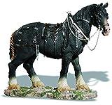 Figura de resina caballo percheron negro con arnés 31/35/11 cm