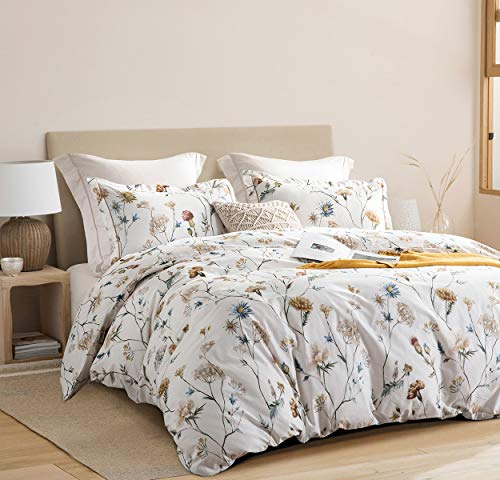 SLEEPBELLA Duvet Cover Queen, Yellow & Blue Flowers Printed on Off-White with Goldenrod Embroidered Flange, 3 Pieces Cotton Comforter Cover with 1 Duvet Cover (No Comforter Insert), 2 Pillow Shams
